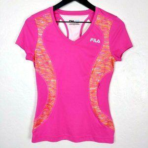FILA Pink/Orange V-Neck Running Work Out T-Shirt